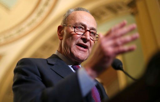 (AP Photo/Pablo Martinez Monsivais). In this March 6, 2018, photo, Senate Minority Leader Chuck Schumer of N.Y., speaks with reporters following weekly policy luncheons on Capitol Hill in Washington. Senate Democrats have a plan to reverse some of the ...
