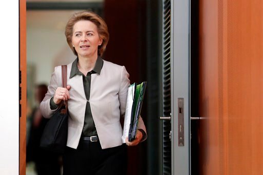 (AP Photo/Michael Sohn). German Defence Minister Ursula von der Leyen arrives for the weekly cabinet meeting at the chancellery in Berlin, Germany, Wednesday, March 7, 2018.
