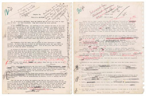 """(Profiles in History via AP). This image released by Profiles in History shows two pages from the original Alcoholics Anonymous manuscript. Alcoholics Anonymous is demanding the return of its 1939 original manuscript describing the """"Twelve Step"""" progra..."""