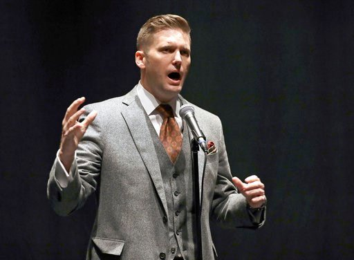(AP Photo/Chris O'Meara, File). FILE - In this Oct. 19, 2017, file photo, white nationalist Richard Spencer speaks at the University of Florida in Gainesville, Fla. Spencer plans to speak March 5, 2018, at Michigan State University, but the rest of his...