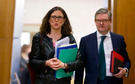 (AP Photo/Virginia Mayo). European Commissioner for Trade Cecilia Malmstroem, left, arrives for a meeting of the College of the European Commission at EU headquarters in Brussels on Wednesday, March 7, 2018. The European Union will set out its strategy...