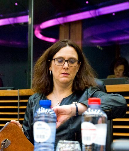 (AP Photo/Virginia Mayo). European Commissioner for Trade Cecilia Malmstroem looks at her watch as she attends a meeting of the College of the European Commission at EU headquarters in Brussels on Wednesday, March 7, 2018. The European Union will set o...