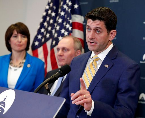 (AP Photo/J. Scott Applewhite). Speaker of the House Paul Ryan, R-Wis., joined from left by, Rep. Cathy McMorris Rodgers, R-Wash., and House Majority Whip Steve Scalise, R-La., meets with reporters following a closed-door Republican strategy session on...