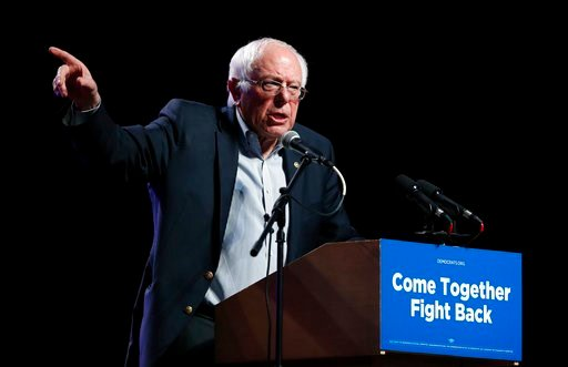 (AP Photo/Charlie Neibergall, File). FILE - In this April 20, 2017 file photo, Sen. Bernie Sanders, I-Vt., speaks at a rally for Omaha Democratic mayoral candidate Heath Mello in Omaha, Neb.  Sanders will be speaking at publishing's annual national gat...