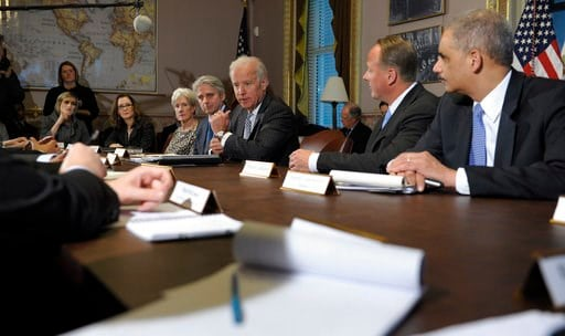 (AP Photo/Susan Walsh, File). FILE- In this Jan. 11, 2013, file photo Vice President Joe Biden, center, speaks during a meeting with representatives from the video game industry in Washington. President Donald Trump plans to meet with representatives f...