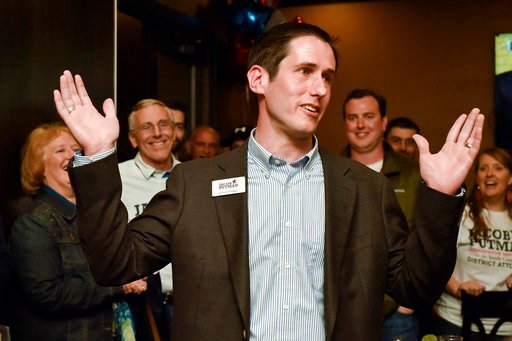 (Chelsea Purgahn/Tyler Morning Telegraph via AP). Smith County District Attorney candidate Jacob Putman speaks after learning of his win during a primary election night watch party at Dakota's in Tyler, Texas, on Tuesday, March 6, 2018.