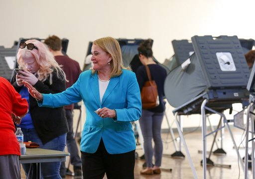 (Godofredo A. Vasquez/Houston Chronicle via AP). Senator Sylvia Garcia exits the polling stationat the Montie Beach Community Center after voting Tuesday, March 6, 2018, in Houston. Texas Democrats turned out in force ahead of the first-in-the-nation p...