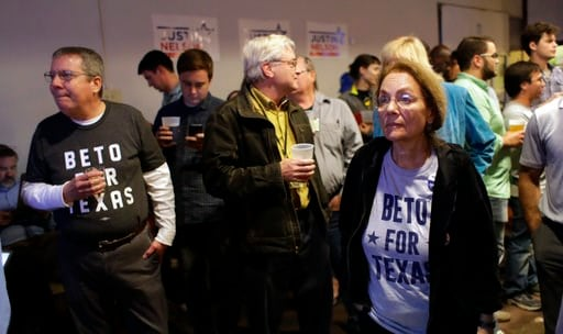 (AP Photo/Eric Gay). Supporters watch results on a screen during a Democratic watch party following the Texas primary election, Tuesday, March 6, 2018, in Austin, Texas.