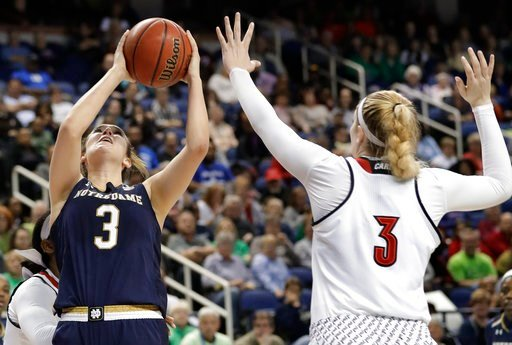 (AP Photo/Chuck Burton). Notre Dame's Marina Mabrey, left, shoots over Louisville's Sam Fuehring, right, during the second half of an NCAA college basketball game in the championship of the women's Atlantic Coast Conference tournament in Greensboro, N....