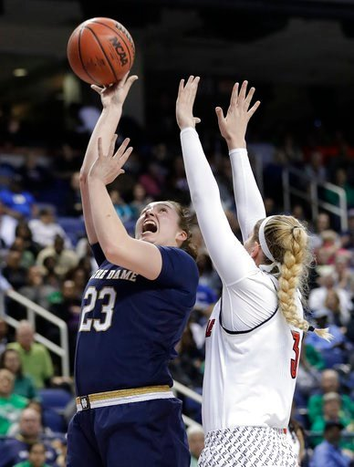 (AP Photo/Chuck Burton). Notre Dame's Jessica Shepard (23) shoots over Louisville's Sam Fuehring (3) during the second half of an NCAA college basketball game in the championship of the women's Atlantic Coast Conference tournament in Greensboro, N.C., ...