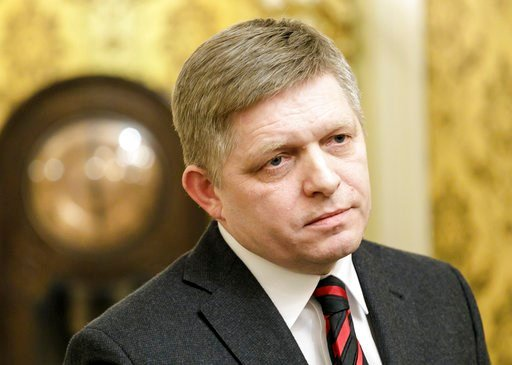 ( Dano Veselský/TASR via AP). Slovakian Prime Minister Robert Fico during a statement on the current political situation in Bratislava Monday, March 5, 2018.  A political storm in Slovakia deepened Monday, with Prime Minister Robert Fico accusing the c...