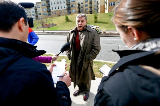 (AP Photo/Keith Srakocic). Republican Rick Saccone, center, talks with reporters before going on a tour at Range Resources Wednesday, March 7, 2018 in Canonsburg, Pa. Saccone is running against Democrat Conor Lamb in a special election being held on Ma...