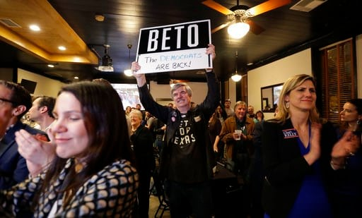 (AP Photo/Eric Gay). Supporters of senate hopeful Beto O'Rourke cheer during a Democratic watch party following the Texas primary election, Tuesday, March 6, 2018, in Austin, Texas.