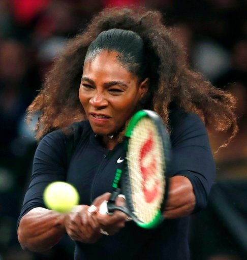 (AP Photo/Kathy Willens). Serena Williams of the United States returns to opponent Zhang Shuai of China during the semi-final round of Tie Break Tens tennis tournament at Madison Square Garden, Monday, March 5, 2018 in New York. The Tie Break Tens' New...