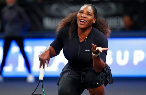 (AP Photo/Kathy Willens). Serena Williams of the United States reacts as a call goes against her and to opponent Zhang Shuai of China during the Tie Break Tens tournament at Madison Square Garden, Monday, March 5, 2018 in New York. Zhang defeated Willi...