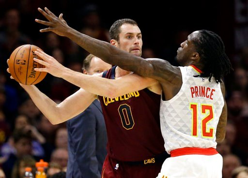 (AP Photo/Tony Dejak, File). FILE - In this Nov. 5, 2017, file photo, Cleveland Cavaliers' Kevin Love (0) looks to pass against Atlanta Hawks' Taurean Prince (12) in the first half of an NBA basketball game in Cleveland. Love disclosed in an essay for ...