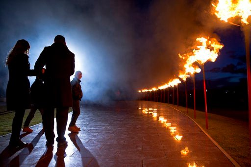 "(AP Photo/Visar Kryeziu). Kosovo Albanians participate in a bonfire ceremony ""Night of the Fires"" in the village of Prekaz, Kosovo on Wednesday, March 7, 2017. Kosovo Liberation Army (KLA) commander Adem Jashari was killed along with 45 members of his ..."