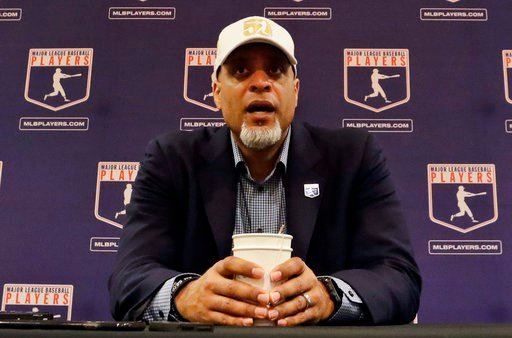 (AP Photo/Morry Gash, File). FIEL - In this Feb. 19, 2017, file photo, Tony Clark, executive director of the Major League Players Association, answers questions at a news conference in Phoenix. A proposal collapsed that would have put a runner on secon...