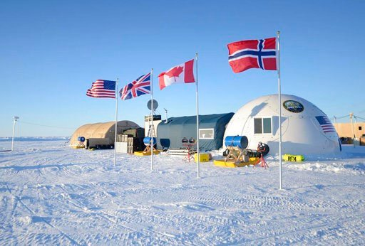 (U.S. Navy via AP). This 2016 photo provided by the U.S. Navy, shows a base camp for submarine sea ice exercises in the Beaufort Sea off Alaska's north coast. The U.S. Navy has kicked off biennial submarine testing and training under sea ice off Alaska...