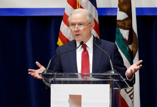 (AP Photo/Rich Pedroncelli). U.S. Attorney General Jeff Sessions addresses the California Peace Officers' Association at the 26th Annual Law Enforcement Legislative Day, Wednesday, March 7, 2018, in Sacramento, Calif. Sessions told law enforcement offi...