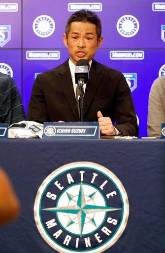 (AP Photo/Matt York). Seattle Mariners' Ichiro Suzuki speaks at a news conference at the teams' spring training baseball complex Wednesday, March 7, 2018, in Peoria, Ariz. Suzuki signed a one year deal in his return to the Mariners.