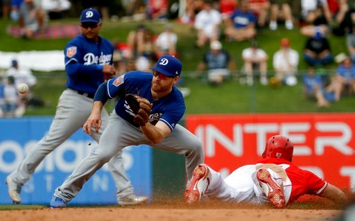 (AP Photo/Chris Carlson). Los Angeles Angels' Mike Trout steals second past Los Angeles Dodgers second baseman Logan Forsythe during the fifth inning of a spring baseball game in Tempe, Ariz., Wednesday, March 7, 2018.