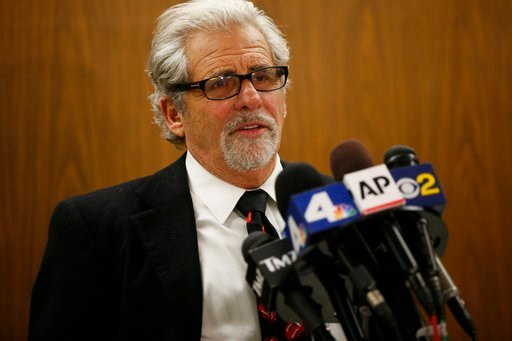 (AP Photo/Damian Dovarganes). Attorney Daniel Brookman speaks on behalf of defendant Terry Bryant, as the media awaits Bryant's appearance in Los Angeles Superior Court Wednesday, March 7, 2018. Bryant is accused of stealing Frances McDormand's best ac...