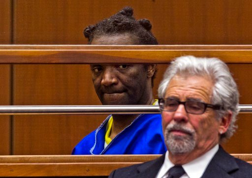 (AP Photo/Damian Dovarganes). Attorney Daniel Brookman, right, discusses the release of his client, Terry Bryant, in Los Angeles Superior Court Wednesday, March 7, 2018. Bryant, who is charged with stealing Frances McDormand's best actress Oscar will b...