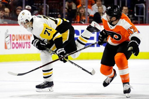 (AP Photo/Matt Slocum). Pittsburgh Penguins' Evgeni Malkin, left, and Philadelphia Flyers' Andrew MacDonald collide during the first period of an NHL hockey game, Wednesday, March 7, 2018, in Philadelphia.