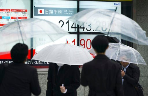(AP Photo/Eugene Hoshiko). People walk past an electronic stock board showing Japan's Nikkei 225 index at a securities firm in Tokyo Thursday, March 8, 2018. Share prices rose in Asia on Thursday after China reported its exports surged nearly 45 percen...