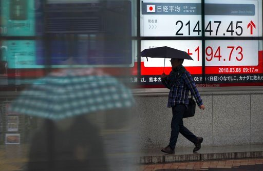 (AP Photo/Eugene Hoshiko). People walk past near an electronic stock board showing Japan's Nikkei 225 index at a securities firm in Tokyo Thursday, March 8, 2018. Share prices rose in Asia on Thursday after China reported its exports surged nearly 45 p...