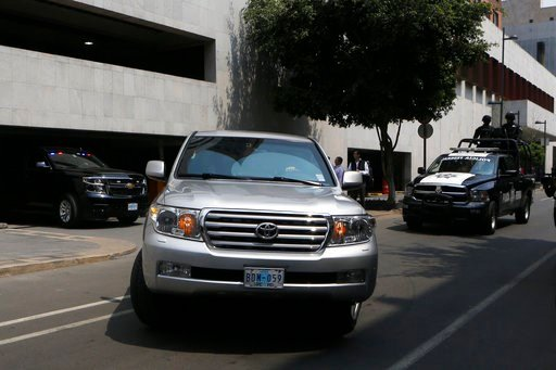 (AP Photo/Marco Ugarte). A convoy transporting White House envoy Jared Kushner leaves the Foreign Ministry and heads to the presidential residence Los Pinos, in Mexico City, Wednesday, March 7, 2018.