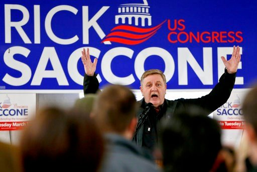 (AP Photo/Keith Srakocic). In this March 5, 2018, photo. Republican Rick Saccone, speaks at a campaign rally in Waynesburg, Pa. Saccone is running against Democrat Conor Lamb in a special election being held on March 13 for the PA 18th Congressional Di...