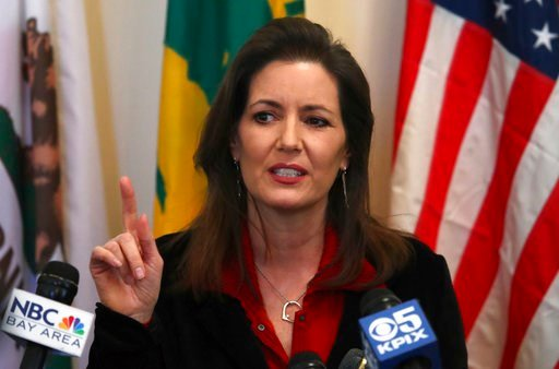 (AP Photo/Ben Margot). Oakland Mayor Libby Schaaf gestures while speaking during a media conference on Wednesday, March 7, 2018, in Oakland, Calif.