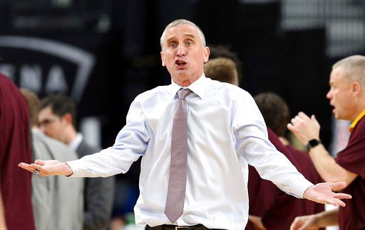 (AP Photo/Isaac Brekken). Arizona State head coach Bobby Hurley questions a call during the second half of an NCAA college basketball game against Colorado in the first round of the Pac-12 men's tournament Wednesday, March 7, 2018, in Las Vegas. Colora...