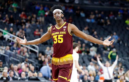 (AP Photo/Isaac Brekken). Arizona State's De'Quon Lake reacts to a call during the second half of an NCAA college basketball game against Colorado in the first round of the Pac-12 men's tournament Wednesday, March 7, 2018, in Las Vegas. Colorado defeat...