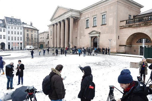 (Mads Claus Rasmussen/Ritzau via AP). Members of the media set up in front of the courthouse where the trial of Danish inventor Peter Madsen, charged with murdering and dismembering Swedish journalist Kim Wall aboard his homemade submarine begins, in C...