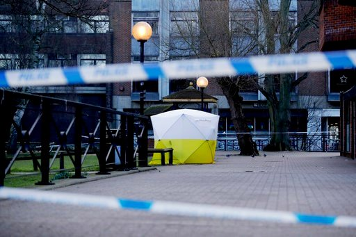"""(AP Photo/Matt Dunham). A police tent is framed by police tape covering the the spot where former Russian double agent Sergei Skripal and his daughter were found critically ill Sunday following exposure to an """"unknown substance"""" in Salisbury, England, ..."""