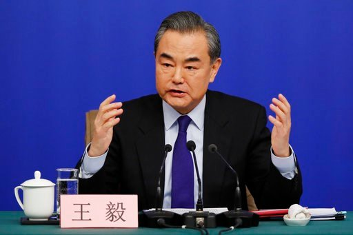 "(AP Photo/Andy Wong). China's Foreign Minister Wang Yi speaks during a press conference on the sidelines of the National People's Congress at the media center in Beijing, Thursday, March 8, 2018. China says its proposal for a ""dual suspension"" of North..."