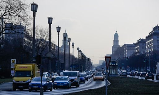 (AP Photo/Markus Schreiber,file). FILE - In this Feb. 28, 2018 file photo, cars drive on a main road in Berlin, Germany. Thousands of people die prematurely each year in Germany from the harmful effects of nitrogen dioxide, a gas that's produced by die...