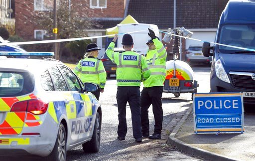 (Andrew Matthews/PA via AP). Police officers seal off a cul-de-sac in Salisbury, England, near to the home of former Russian ex-spy Sergei Skripal as a nerve agent is believed to have been used to critically injure him and his daughter Yulia. Britain's...