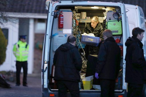 (Andrew Matthews/PA via AP). Police activity in Salisbury, England Wednesday March 7, 2018, around the home of former Russian double agent Sergei Skripal. The Russian ex-spy and his daughter are fighting for their lives in an English hospital after the...