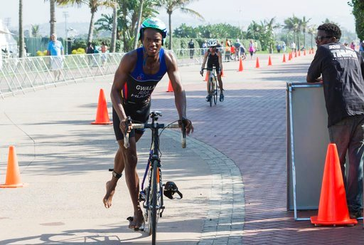 (B-Active Sports/ Jethro Snyders via AP). In this photo taken Sept, 27 2015 and supplied by B-Active Sports, Mhlengi Gwala competes in an event in Durban, South Africa. Assailants attacked Gwala, a top athlete, Tuesday, March 6, 2018, while he was cycl...