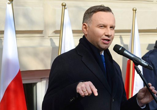 (AP Photo/Alik Keplicz). Polish President Andrzej Duda speaks during ceremonies marking the 50th anniversary of student protests that were exploited by the communists to purge Jews from Poland, at the Warsaw University in Warsaw, Poland, Thursday, Marc...