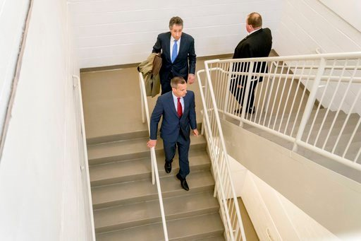 (AP Photo/Andrew Harnik). Former Trump campaign manager Cory Lewandowski, bottom center, and his lawyer Peter Chavkin, top center, arrive to meet behind closed doors with the House Intelligence Committee, at the Capitol in Washington, Thursday, March 8...