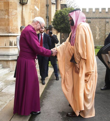 (Yui Mok/PA via AP). The Archbishop of Canterbury Justin Welby, greets the Crown Prince of Saudi Arabia, Mohammed bin Salman, at a private meeting at at Lambeth Palace, London Thursday March 8, 2018.