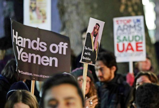 (Yui Mok/PA via AP). Protesters in Whitehall, London, demonstrate against the official visit by Saudi Arabia's Crown Prince Mohammed bin Salman, Wednesday March 7, 2018. Mohammed bin Salman received a royal welcome and high level political meetings, wh...