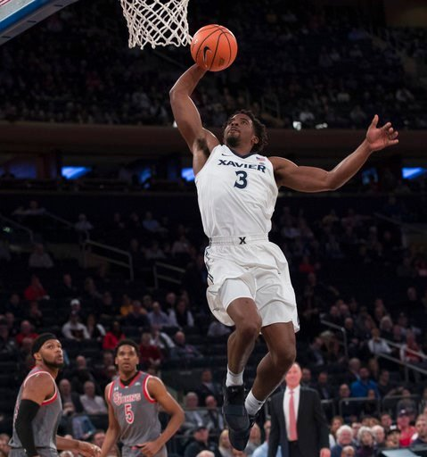 (AP Photo/Mary Altaffer). Xavier guard Quentin Goodin (3) goes to the basket during the first half of an NCAA college basketball game St. John's in the quarterfinals of the Big East conference tournament, Thursday, March 8, 2018, at Madison Square Gard...