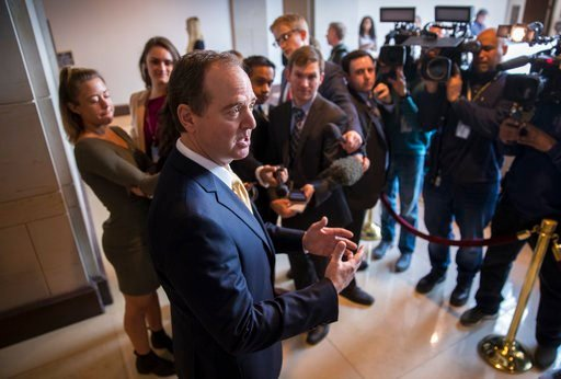 (AP Photo/J. Scott Applewhite). Rep. Adam Schiff, D-Calif., ranking member of the House Permanent Select Committee on Intelligence, speaks with reporters just before his panel interviews former Trump campaign manager Corey Lewandowski as part of an ong...