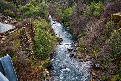 (Steve Martarano/ U.S. Fish and Wildlife Service via AP). In this March 2, 2018 photo provided by the U.S. Fish and Wildlife Service, Battle Creek flows under the Wildcat Bridge near Manton, Calif. Approximately 29,000 endangered winter-run juvenile Ch...